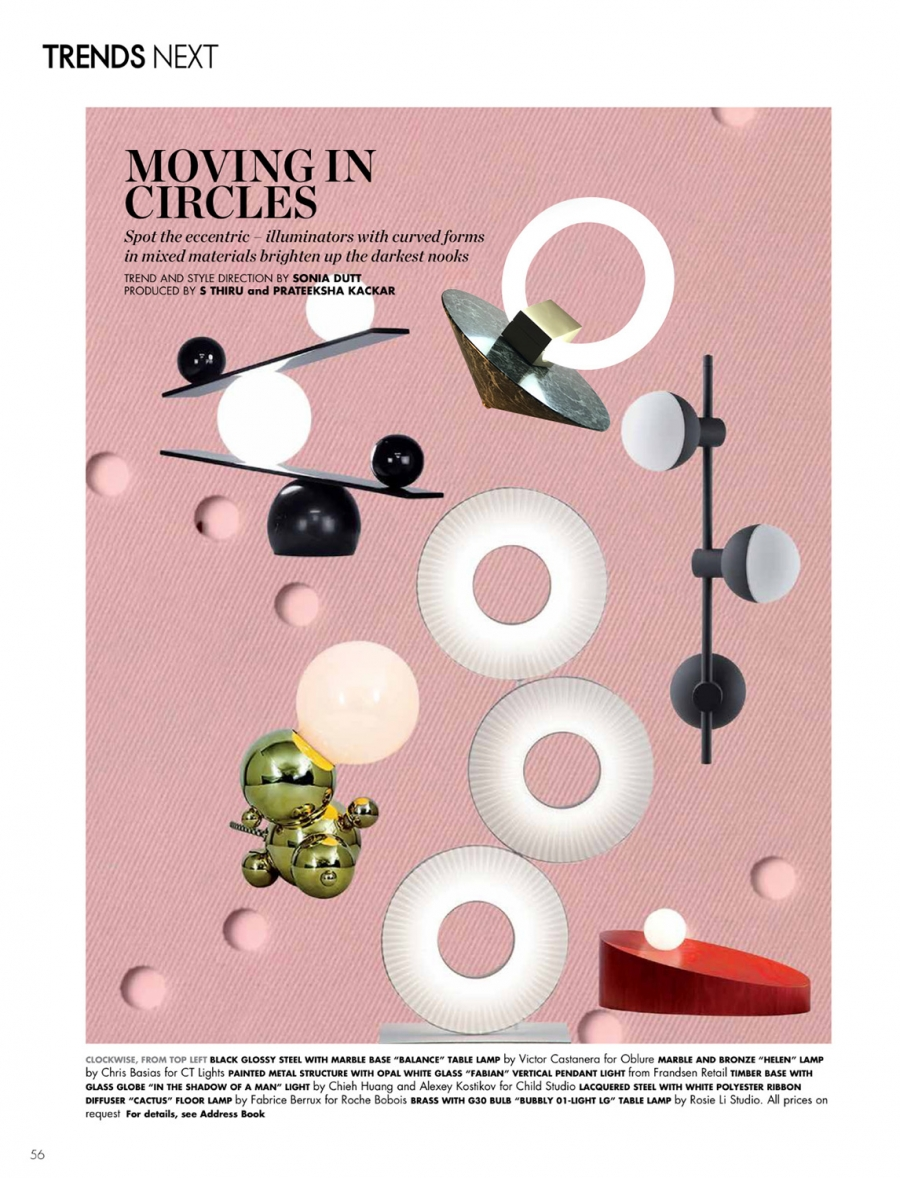 "2017 | ""Moving in circles"" Elle Decor August-September issue, India"